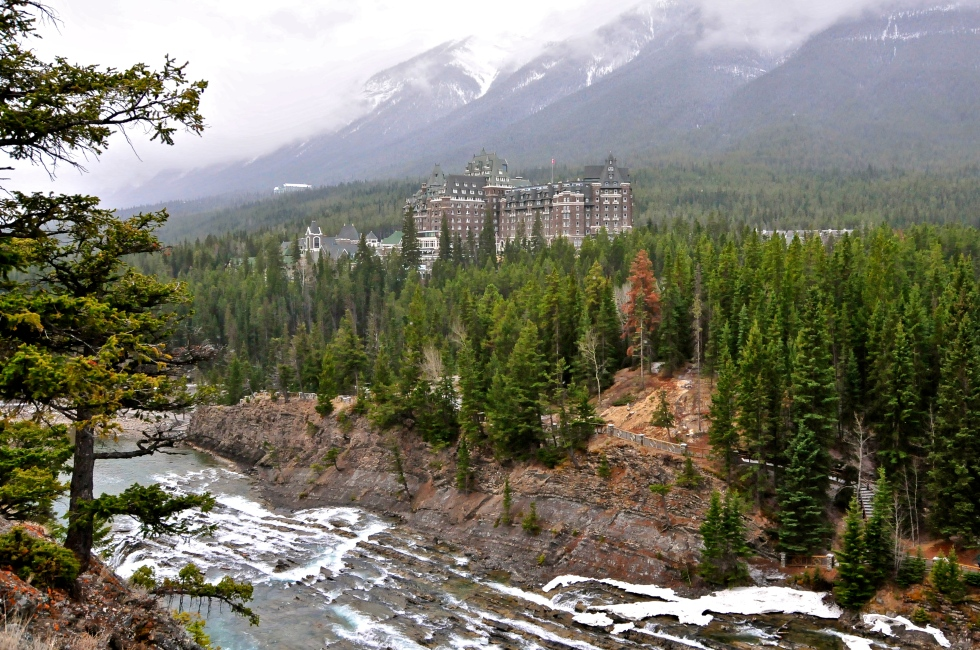 The Banff Springs over Bow Falls
